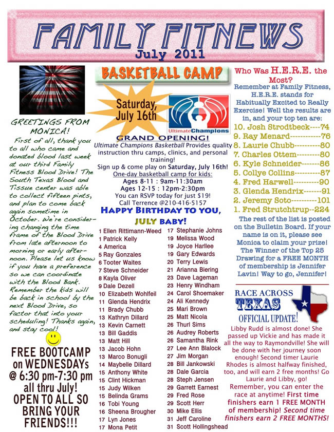 Here's our family fitness newsletter for july 2011!